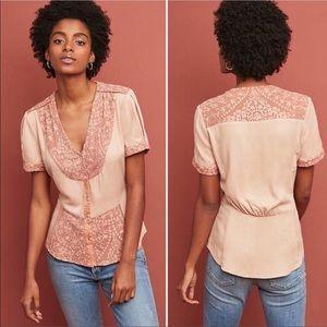 Tiny Blush Print Button Front Blouse